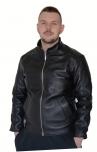 Мужская куртка +кожаная +натуральная кожа +черная