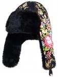 Шапка женская из овчины крытая платком +меховая +ушанка
