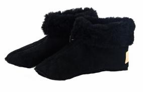 Чуни из овчины мужские без подошвы (черные) +меховые